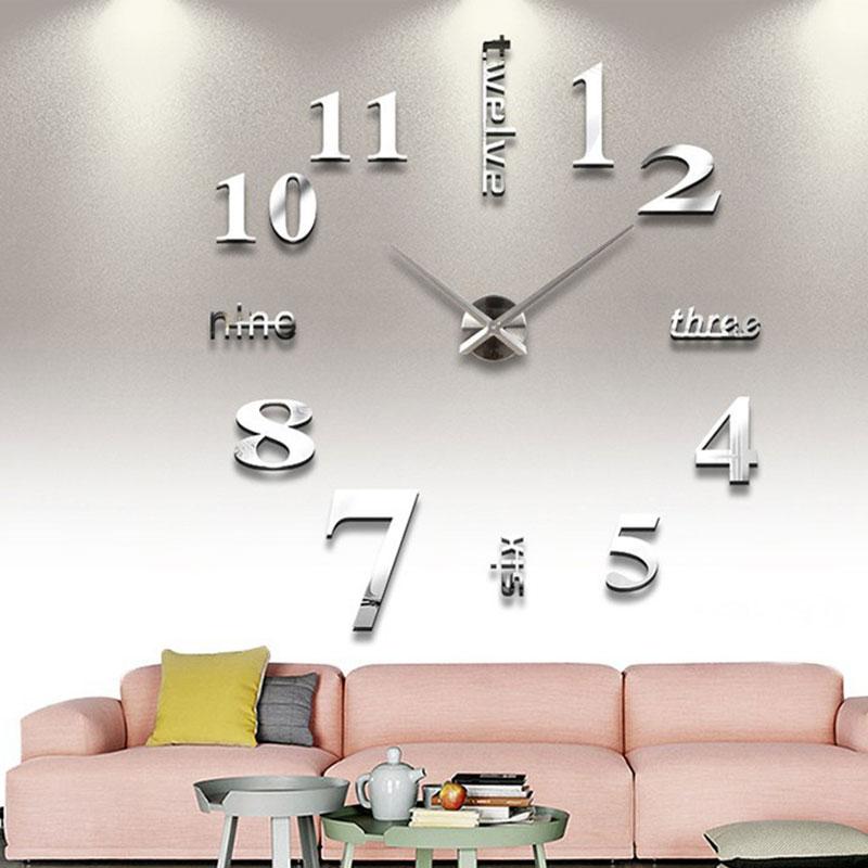 New Big Clock Watch Wall Clocks 47 inch 3D DIY Acrylic Mirror Stickers for Home Living Room Decoration Quartz Needle Horloge