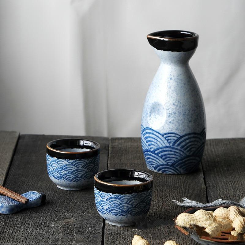 Taza de cerámica de 40ml, jarra de 240ml, conjunto de vino Haibo Sake de estilo japonés, jarra de vino, licor destilado, bebidas de vino para el hogar