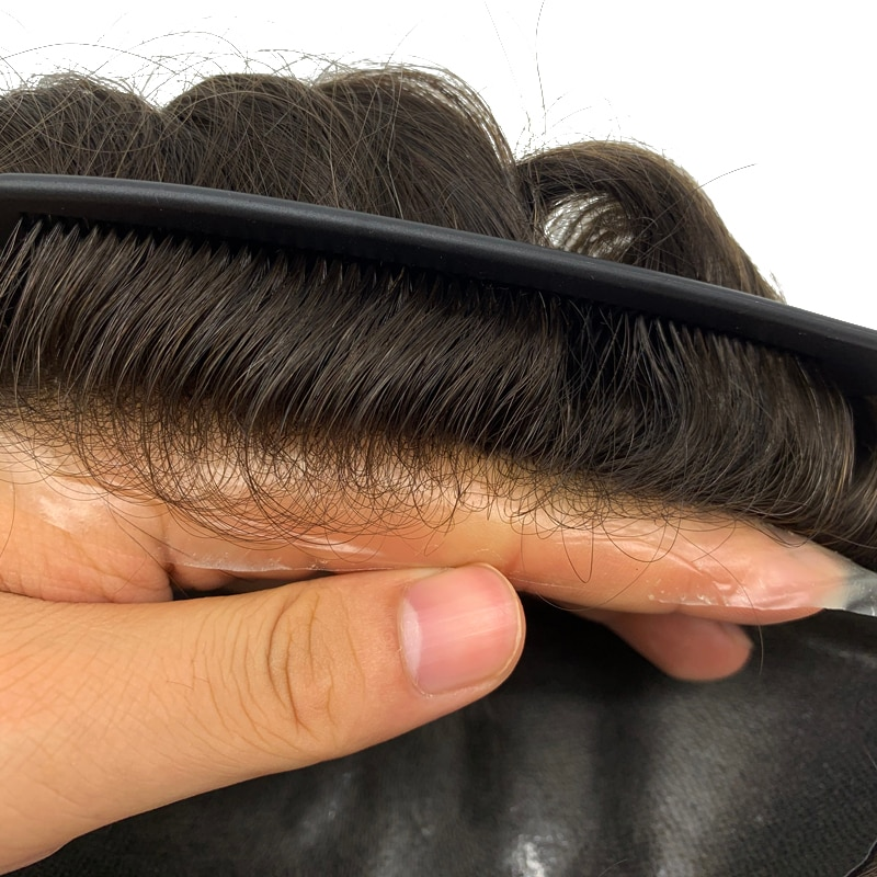 Human Hair Hairpieces Thin skin PU Replacement System Human Hair Men Toupees