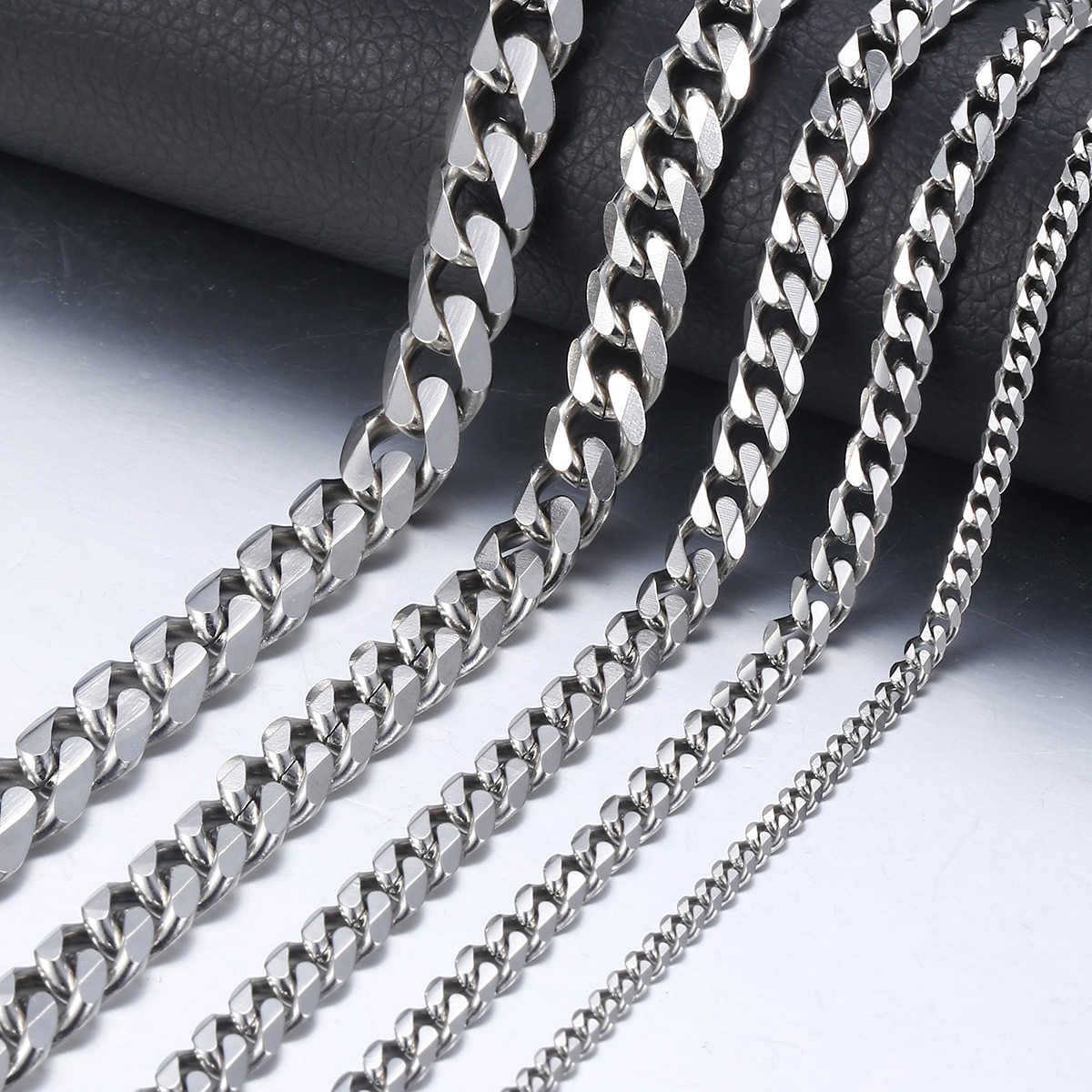 AliExpress - 3-9mm Men's Silver Color Necklace Stainless Steel Cuban Link Chain for Men Women Basic Black Gold Tone Chokers Jewelry KNM07