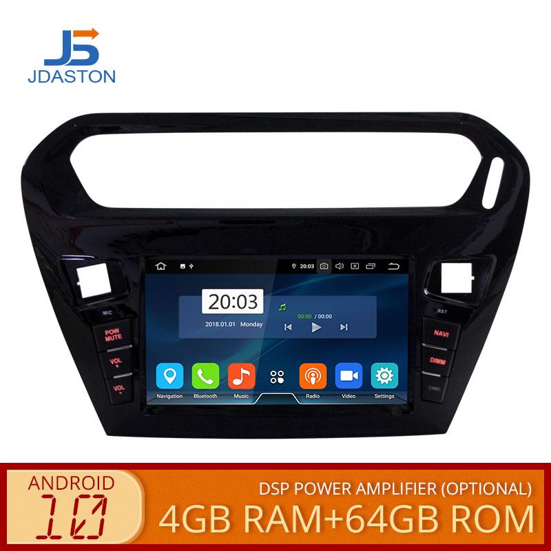 JDASTON Android 10,0 reproductor de DVD del coche para peugeot 301 peugeot Citroen Elysee 2013- 2015 de 2016 Multimedia GPS estéreo 1 Din coche Radio 4G + 64G