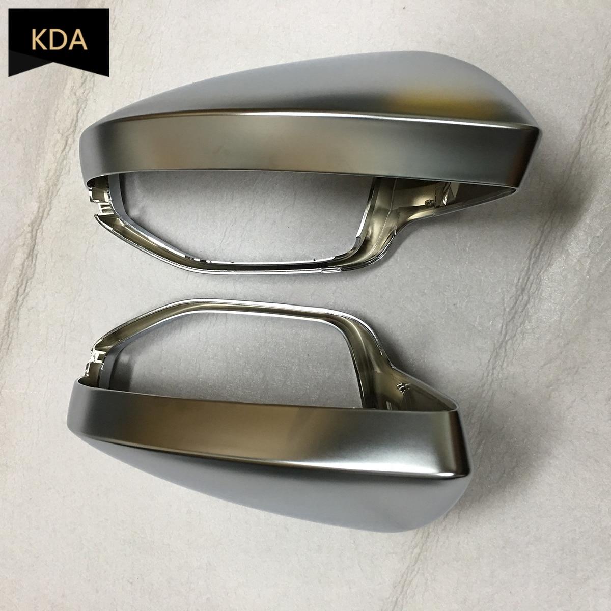 2 قطعة السيارات اليسار الجانب الأيمن كروم الفضة مات الرؤية الخلفية غطاء مرآة لأودي A6 C8 A7 4K8 A8 D5 2018 2019