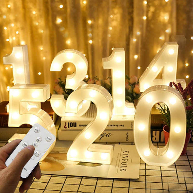 Número LED luces de noche letra 3D lámpara de escritorio marquesina remota letrero neón pared Lampara decoración fiesta Navidad boda cumpleaños