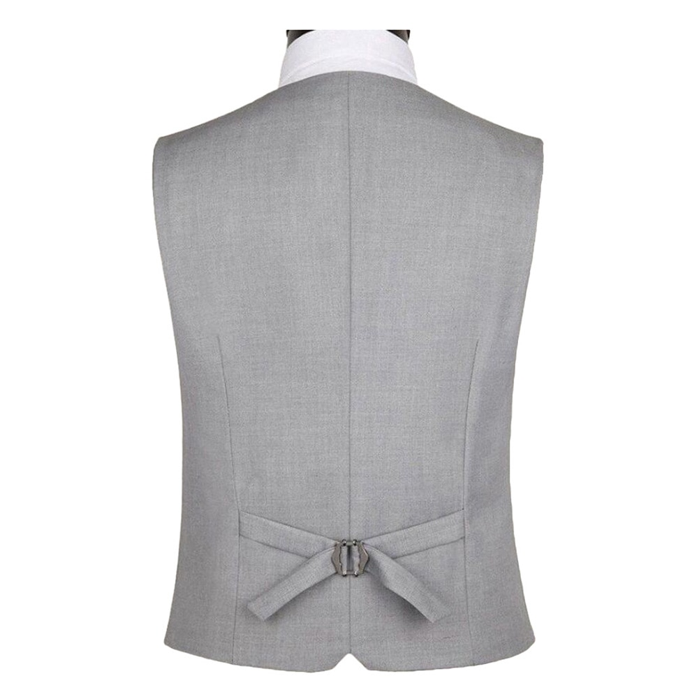 Men Solid Color Sleeveless Back Straps Single-breasted Slim Business Waistcoat Business Clothes Accessory