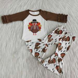2020 new thanksgiving girl boutique suit turkey print fashion bell bottom style