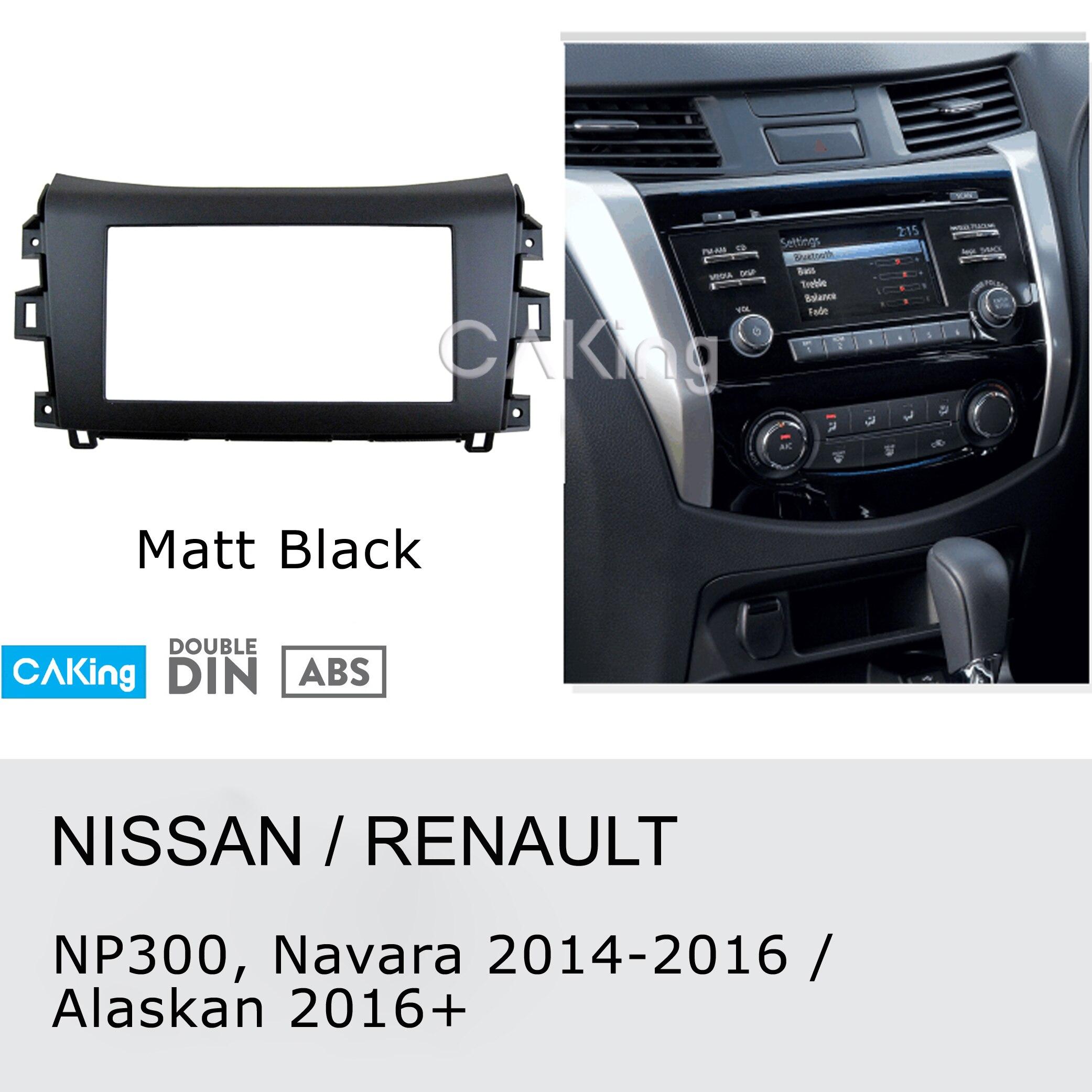 Panel de Radio Fascia de coche para Renault Alaskan 2016 +; NP300 Nissan, Navara, Frontier 2014-2016 (negro) tablero kit de instalación placa adaptadora