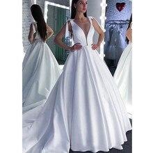 Wedding Dress 2020 Lace Scoop A-Line Elegant Satin Long Princess Vintage Bridal Dress Sexy Wedding Gown Custom Made