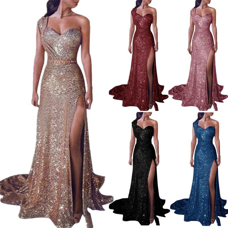 Vestido largo elegante rojo con hombros descubiertos con purpurina para mujer, vestido sexi para fiesta, Club, brillo, largo hasta el suelo, Vestidos elegantes de noche con lentejuelas