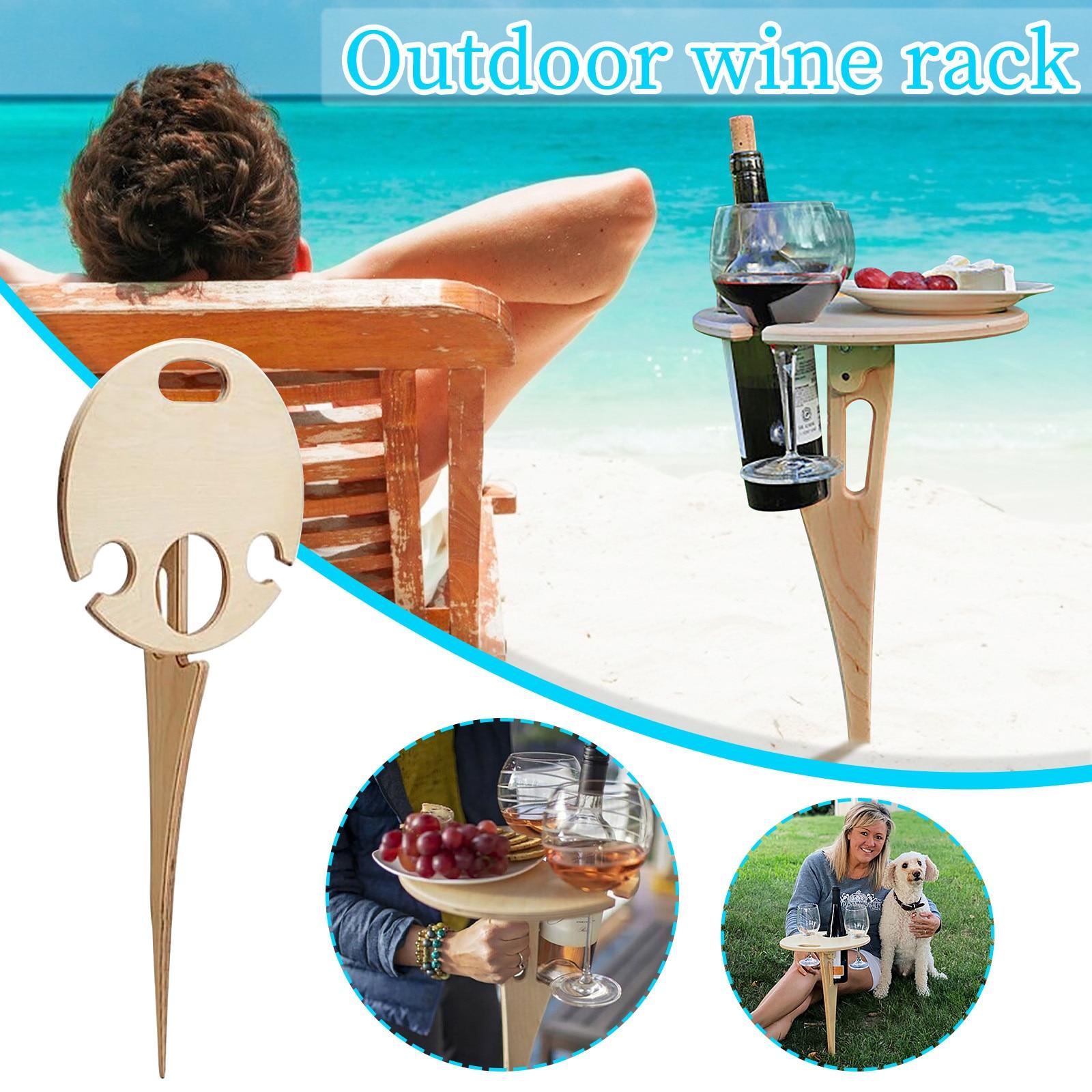 Mesa de acampada al aire libre, estante de vino portátil, Mesa para...