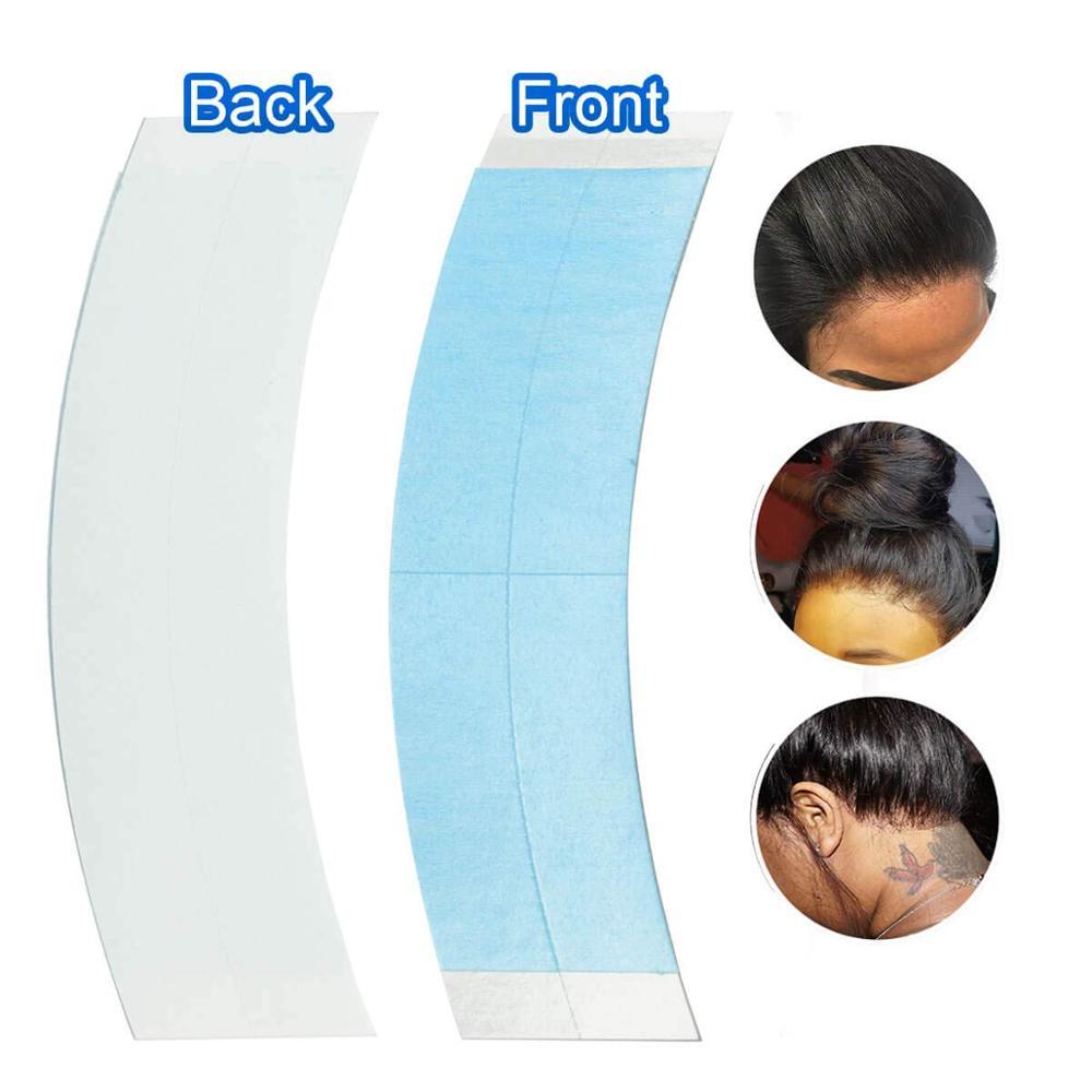 36 unids/bolsa CC precortada cintas adhesivas de doble cara para extensión de cabello de encaje soporte frontal pelucas de tupé (color azul)