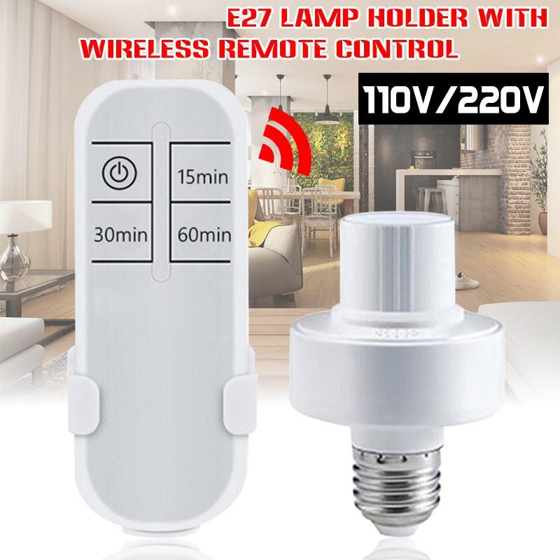110v/220vワイヤレスリモートコントロールランプホルダー調光対応E27 電球ledナイトライトベースとタイマー