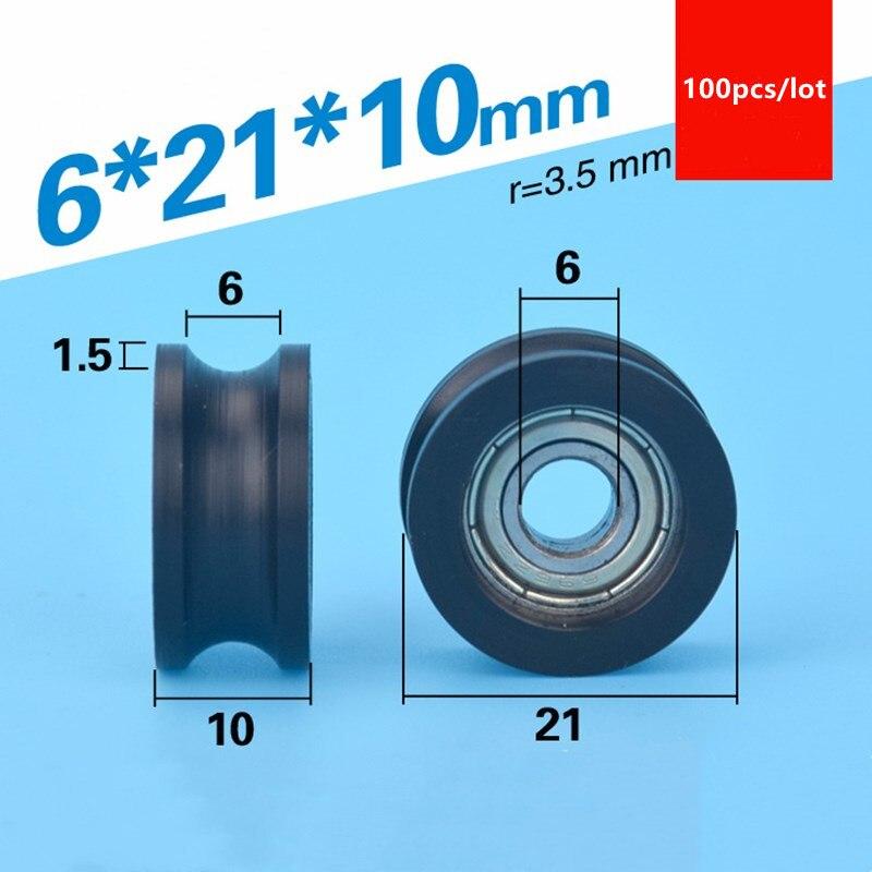 100 قطعة U الأخدود البلاستيك المغلفة تحمل 696ZZ 6*21*10 مللي متر تتحرك نافذة الباب بوم الأسطوانة عجلة بكرة النايلون تتحمل 6 مللي متر قطرها 21 مللي متر
