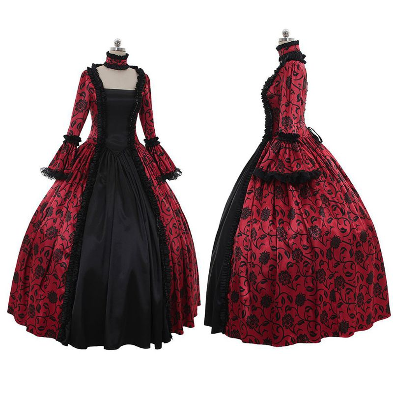 Inspiração vitoriana feminina gótico rococó maxi vestido floral impresso babados rendas retalhos medieval renascentista cosplay traje