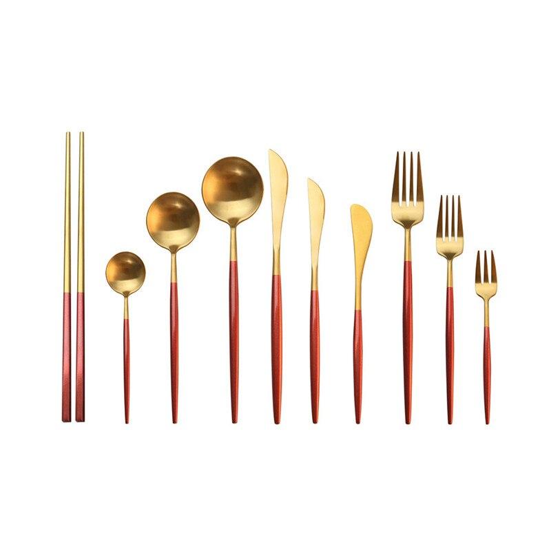 304 aço inoxidável louça 1pc conjunto de talheres ouro vermelho talheres cozinha bife faca talheres colher garfo pauzinho dropship