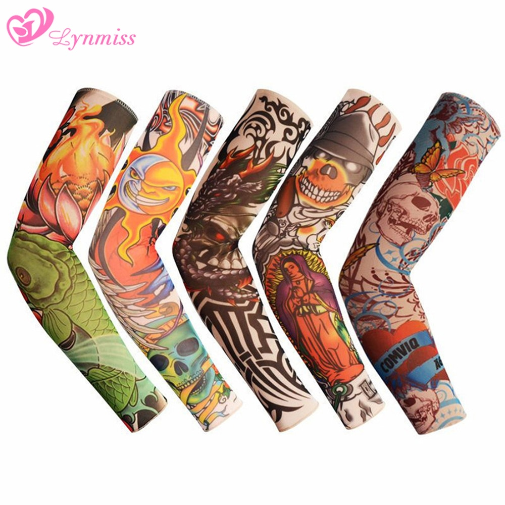 ching yun new fashion tattoo sleeves arm warmer unisex uv protection outdoor temporary fake tattoo arm sleeve warmer two sleeves Lynmiss Outdoor Cycling Summer Sunscreen Arm Sleeves Tattoo Cooling Sleeves Fake Tattoo Temporary Sleeves Arm Warmer Sleeves