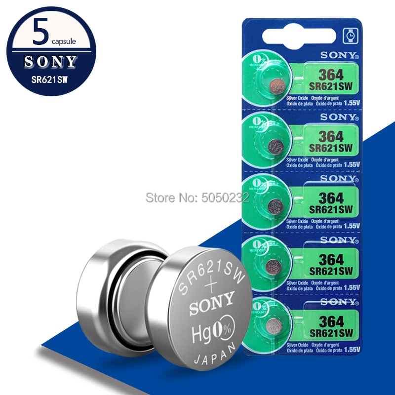5 uds para Sony Original 1,55 V 364 SR621SW V364 SR60 SR621 AG1 pilas para reloj óxido de plata botón pila de moneda baterías hecho en Japón