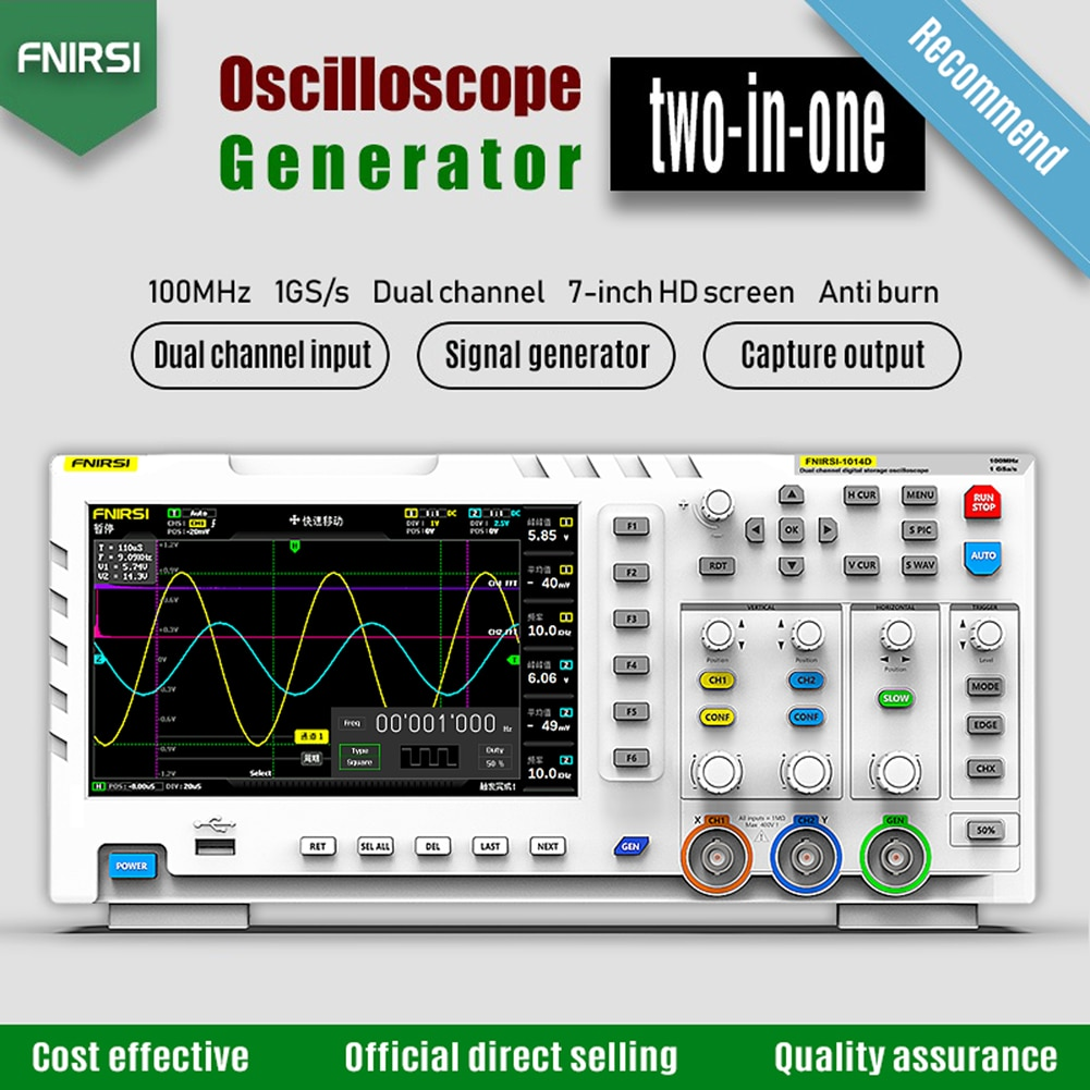 FNIRSI-1014D 2 In 1 Dual Channel Input Signal Generator 100MHz* 2 Ana-log Bandwidth 1GSa/s Sampling Rate Digital Oscilloscope
