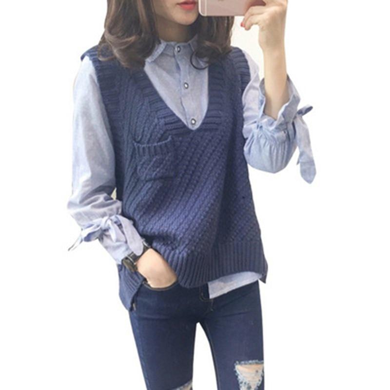 2020 nuevo primavera otoño mujeres suéter chaleco Delgado chaleco tejido cuello pico Mujer chaleco informal chaleco sin mangas suéteres de punto