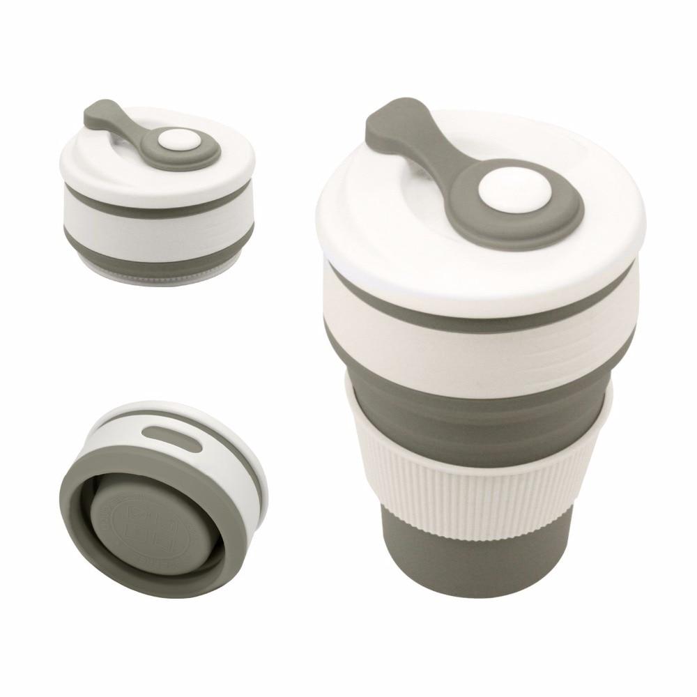 Tazas de café de viaje copa de silicona plegable tazas de agua plegables BPA taza de bebida gratis regalo de Navidad