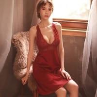 sexy womens sleep wear summer ice silk thin section long section deep v lace sling nightdress set