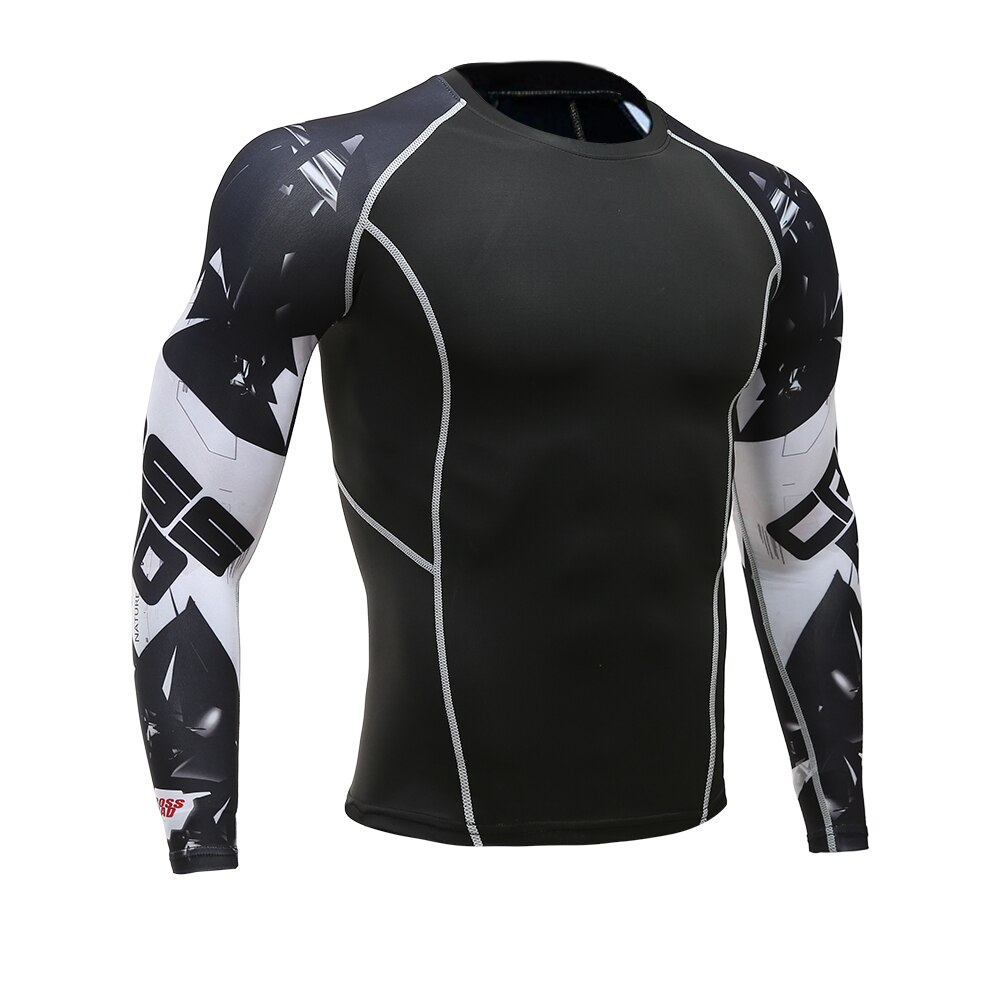2021 New Hot Printed T-shirt Compression Tights Men Fitness Running Shirt Breathable Long Sleeve Sports Gym Cycling Clothing