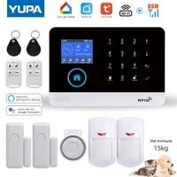 Systeme dalarme de securite domestique sans fil  wi-fi  GSM  detecteur de mouvement PIR  anti-cambriolage  pour application TUYA Smartlife  fonctionne avec Alexa