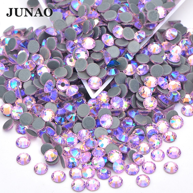 JUNAO SS6 8 10 12 16 20 30 Light Pink Hot Fix Glass Rhinestones Iron On Hotfix Crystal Stones Flatback Round Strass Applique