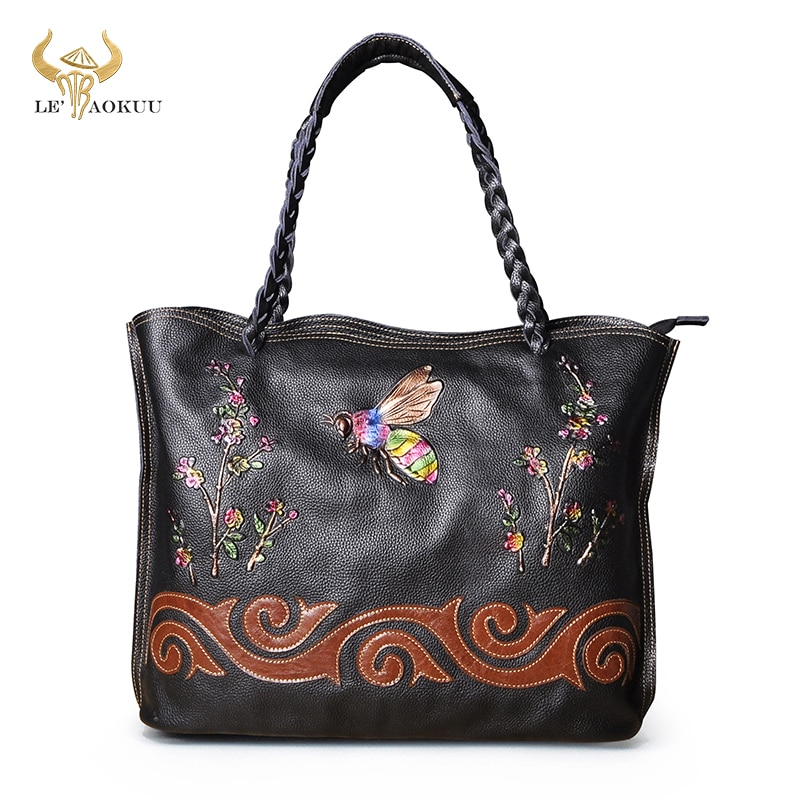 Trend Natural Leather Famous Brand Luxury Ladies Large Shopping handbag Shoulder bag Women Designer