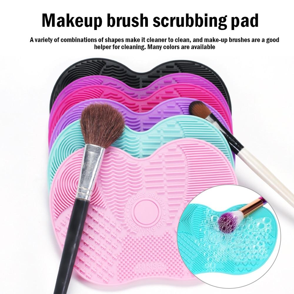 Base de Maquillaje cepillo depurador Junta pincel de maquillaje de silicona almohadilla limpiadora brocha para limpieza de maquillaje Gel alfombrilla de limpieza herramienta de mano
