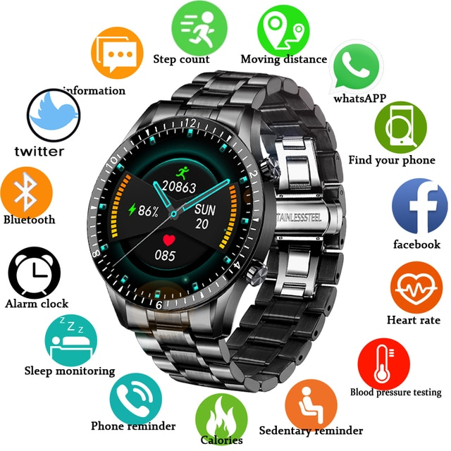 2021 New Smart Watches Men Full Touch Screen Sports Fitness Watch IP67 Waterproof Bluetooth For Android ios smartwatch Mens+box