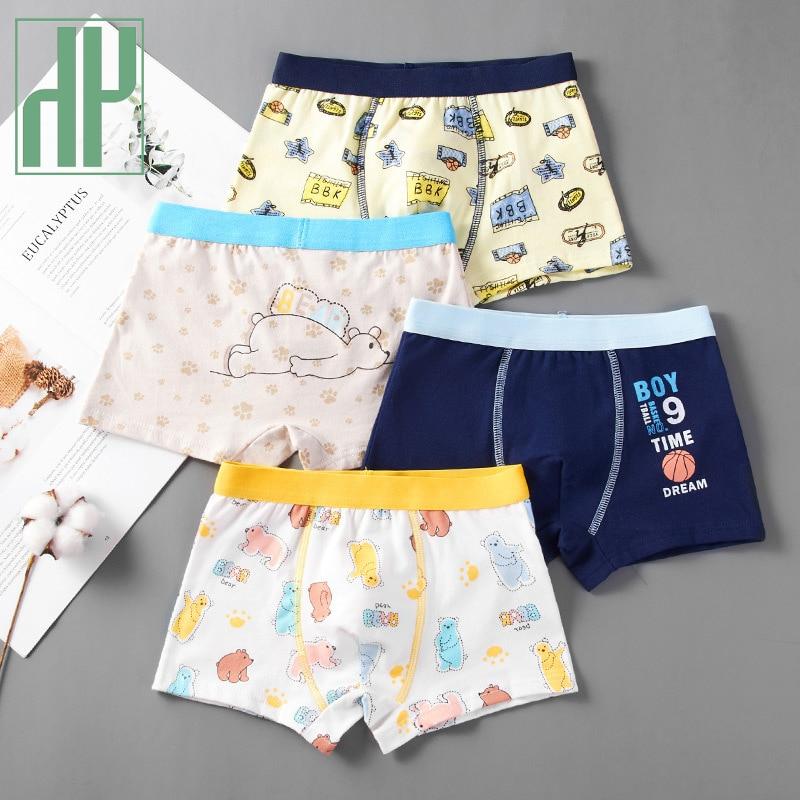 HH 3pcs/set Pure Cotton Boys Boxer Underpants Children's Panties Cozy Cartoon Underwear Middle Small Kids Panty Boy Shorts
