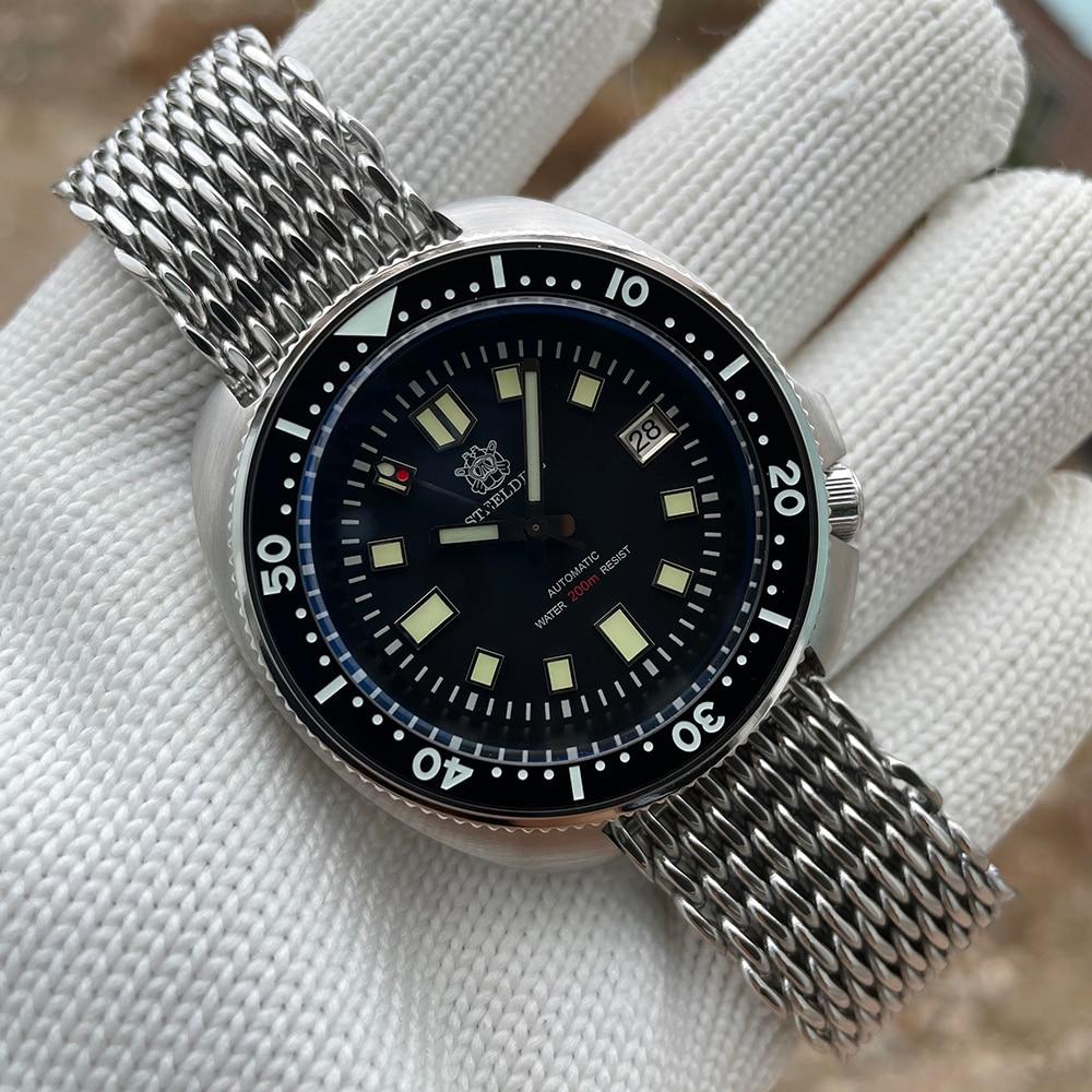 Limited Supply Of Shark Mesh Strap STEELDIVE SD1970 Classic Diving Watch NH35 Movement Blue Luminous Men's 200M Waterproof Watch