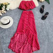 2020 Spring Summer Bohemian Women Two Piece Set Red Polka Dot Strapless Tops + Long Skirt Boho Chic Irregular Ruffles 2 Pcs Set