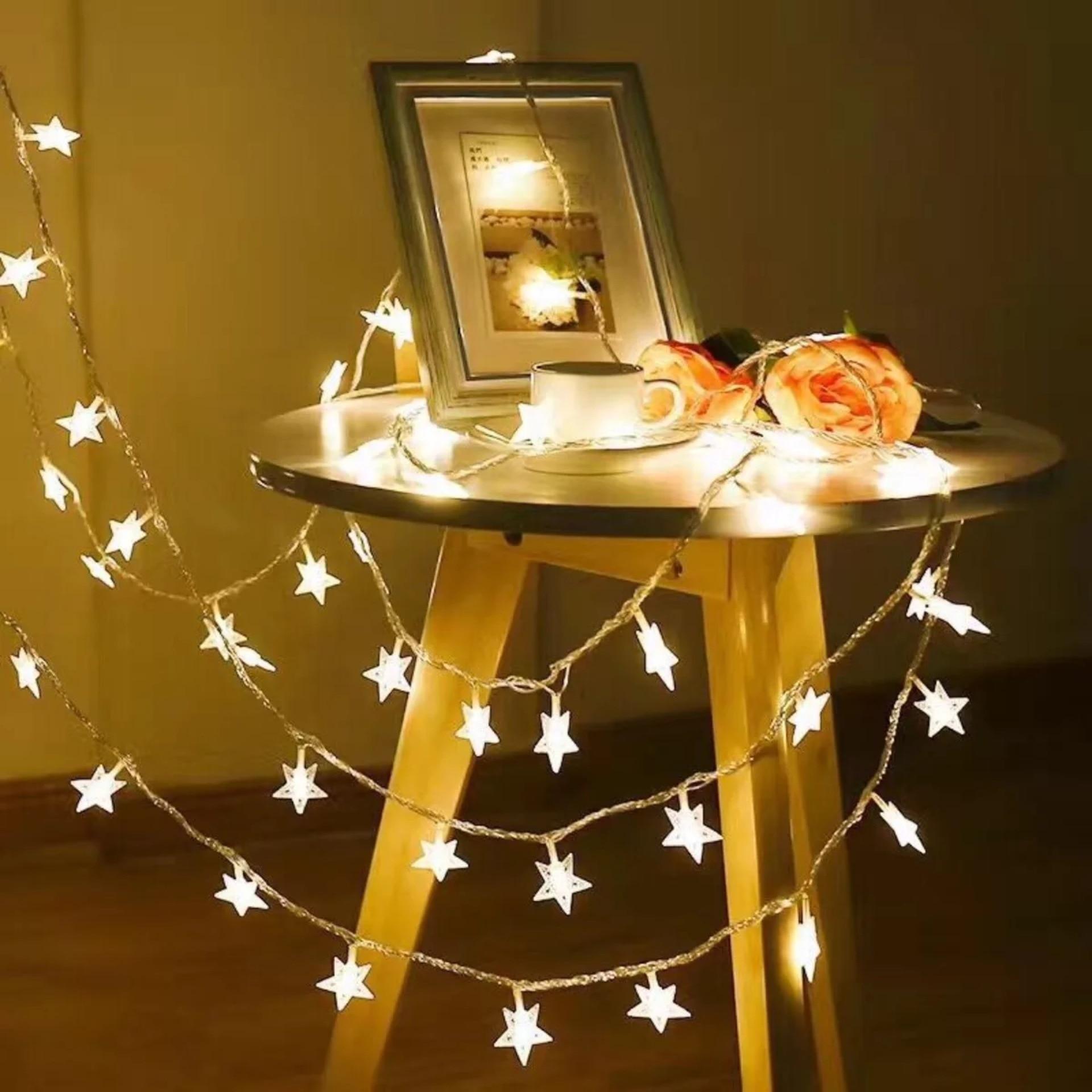 1 м 3 м Светодиодные лампочки звездочки светильник струны с пересекающимися мигающими звездами гирлянды Батарея питание Рождественские огн...