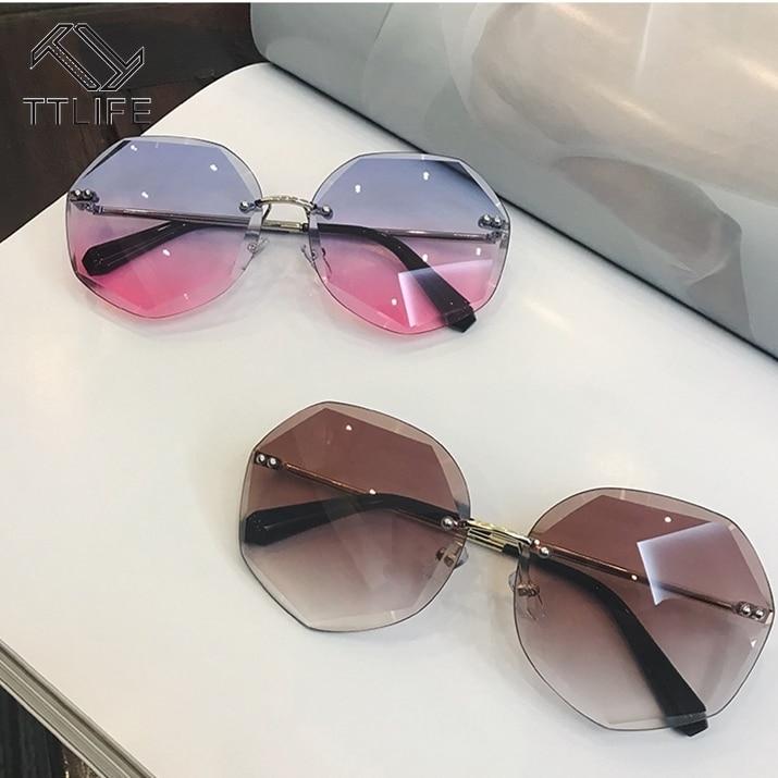 TTLIFE Cutting Lens Sunglasses for Women High Quality Female Polygon Sun Glasses Gradient Color Thin Shadow Purple Eyewear