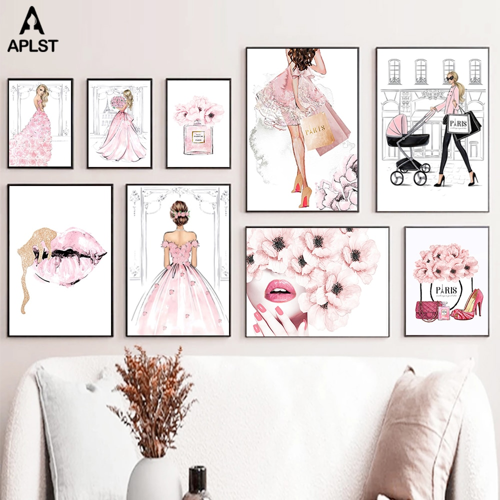 Pink Flower Dress Fashion Girls Makeup Poster Sexy Woman Lips Perfume Shoes Canvas Prints Picture Lady Paintings Home Decoration