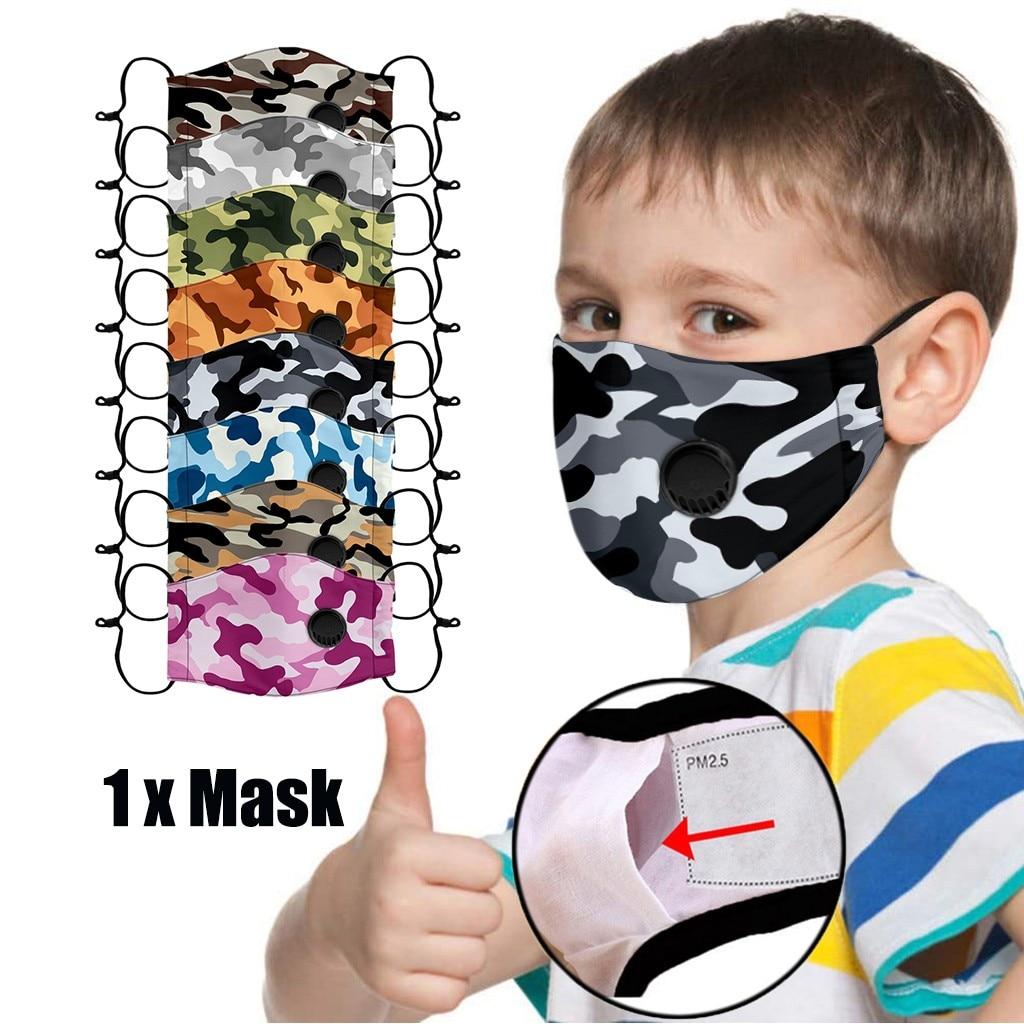 Crianças crianças camuflagem impressão máscaras de rosto ajustável reutilizável respirável segurança proteção boca tampões ajustável mondkapjes