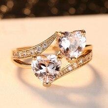 Women's Double Heart Rainbow Zircon Ring Fashion Creative Zircon Metal Ring Colorful Decoration Set Party Wedding Jewelry Gift