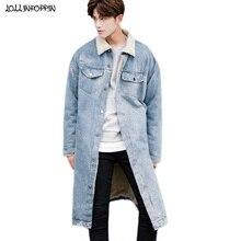 Hiver polaire à lintérieur des hommes longue Style Denim veste à glissière poignets épais Denim manteau col rabattu lâche rétro bleu Jean veste