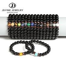 JD 1Pc Women Men Smooth Ball Stone Black Onyx Beads Bracelet June Pride LGBT GAY Couple Jewelry For Love Men Jewelry