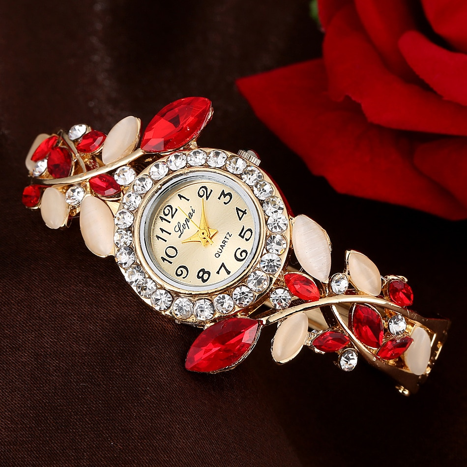 Branded Women's watches Luxury Round Quartz Watch Bracelet Stainless steel Colorful Crystal Clock Fashion Fine watch Girl Gift ultra thin luxury claw setting lady women s watch fashion crystal hours dress bracelet woman clock girl s gift royal crown box