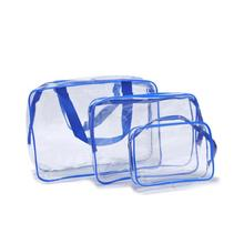 Transparent 3Pcs/Set Delicate Travel PVC Cosmetic Women Zipper Bags Portable Cosmetic Bag Smooth Sur