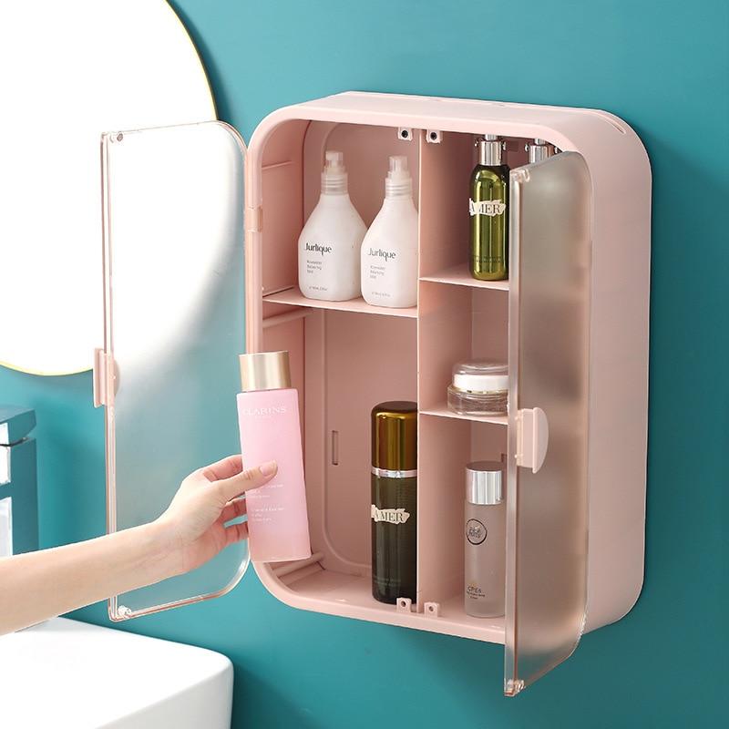 الحائط صندوق تخزين مستحضرات التجميل سعة كبيرة حاوية الحمام مقاوم للماء يشكلون المنظم خلع الملابس الجدول مستلزمات الحمام الرف