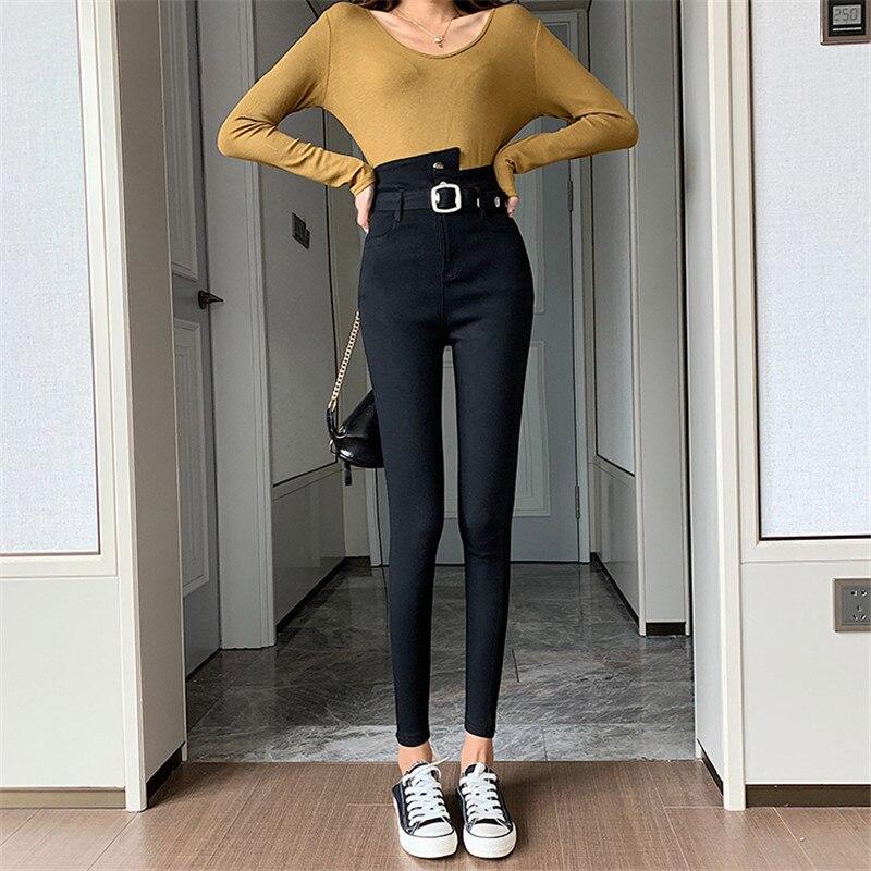 Real shot 2020 spring new black leggings irregular stretch feet pants women's casual high waist was thin pencil pants