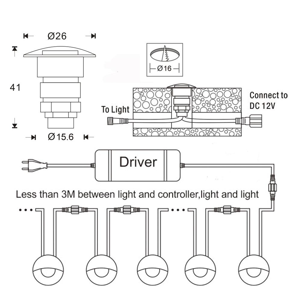 2019 lamparas subterraneas 0,6 W 12V de escalera de LED lamparas IP65 LED jardinPost camino iluminacion a prueba de agua al aire enlarge