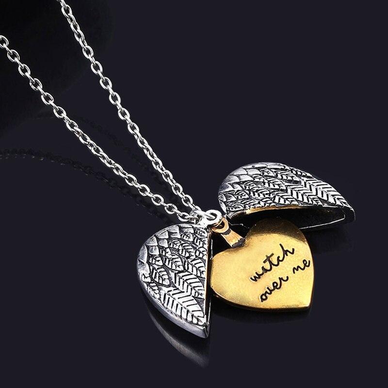 Collar de corazón con alas de Ángel a la moda, collar de doble capa grabado, reloj sobre mí, medallón con carta, Gargantilla, collar para mujer, cadena de clavícula, regalo