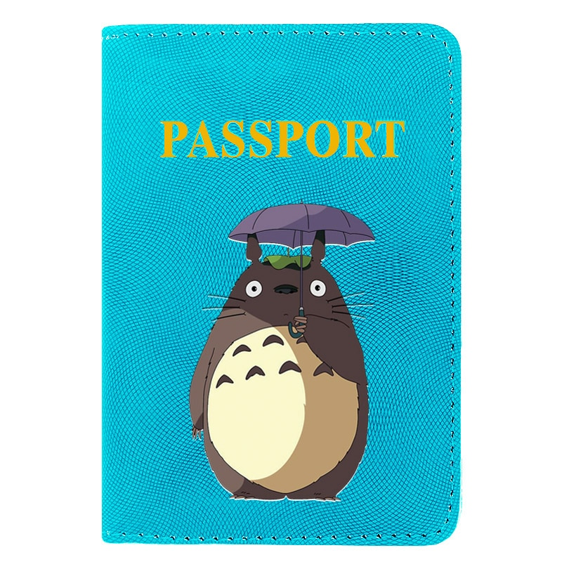 Fashion Cute My Neighbor Totoro Printing Women Men Passport Cover Pu Leather Travel ID Credit Card Holder Pocket Wallet Bags