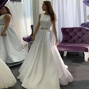 Elegant Satin A Line Wedding Dresses with Pockets Scoop Neckline Sleeveless Beaded Sash Bridal Gowns Ivory Vestido De Noiva 2021