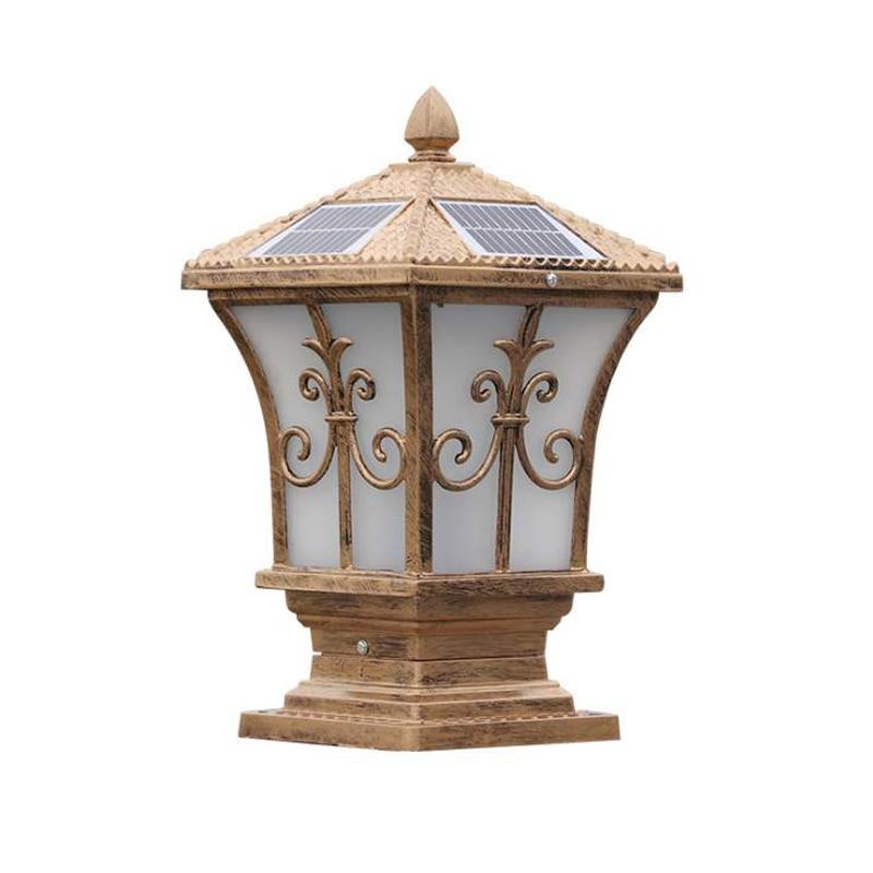 Solar charging column design lamp, outdoor warm white light, wall mounted, waterproof, street, garden, villa and gate enlarge