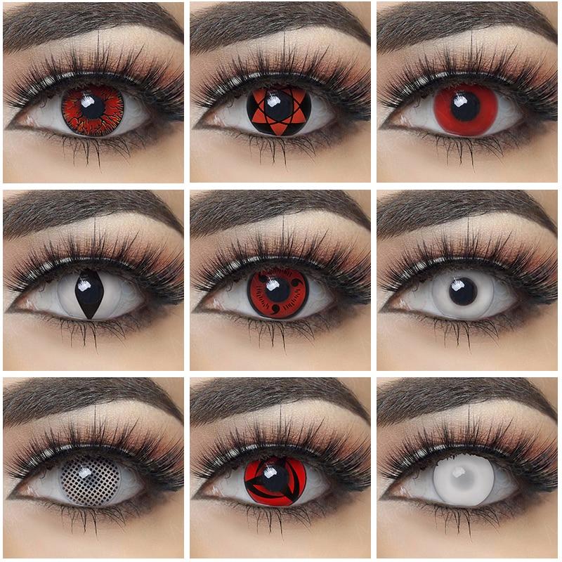 1 пара Косплей Контактные линзы Хэллоуин цветные контактные линзы ed для глаз красные белые линзы аниме контактные линзы для глаз цвет Шарин...